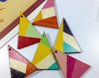 4 Geometric Wooden Triangle Charms 39x29mm