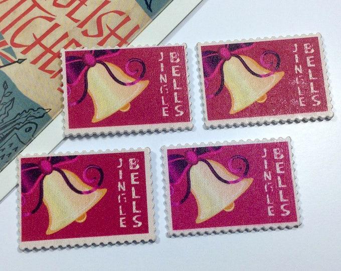 4 wooden Christmas Postage Stamps 39x27mm Jingle Bells design for crafts, scrapbooking, cardmaking, decoration