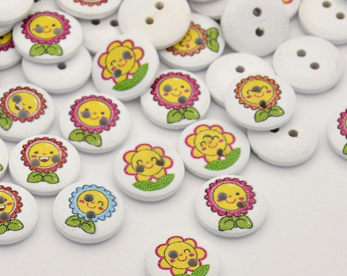 5 wooden Happy Sunflower buttons 15mm