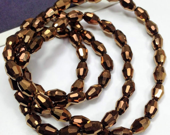 15 copper glass faceted bicone beads 6x4mm