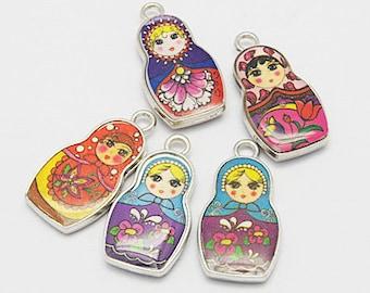 4 Enamel Russian Doll Charms 27x14mm