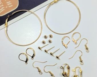 8 pairs earrings mix for making earrings; hoop, fish hook, ear stud, clip on lot, gold tone