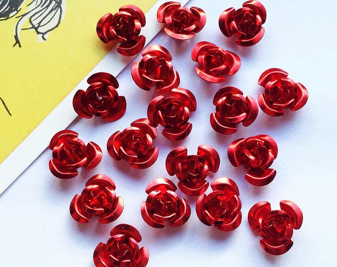 30 Ruby Red metal rose beads 11mm aluminium pretty flowers