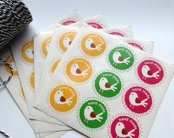 45 Hand Made stickers with bird 36mm for jewelry packaging