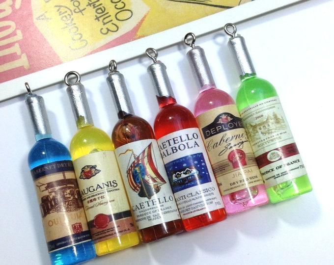 Mini plastic wine bottle charm 53x12mm