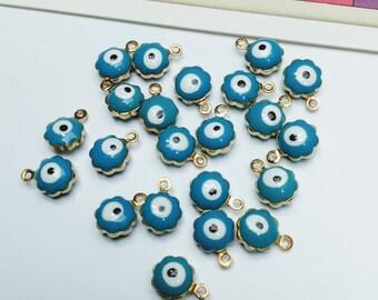 12 Evil Eye Charms 9x7mm