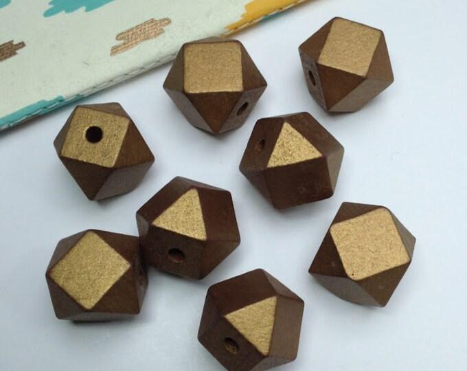 5 metallic Gold Wooden Geometric / Polygon Beads 20mm