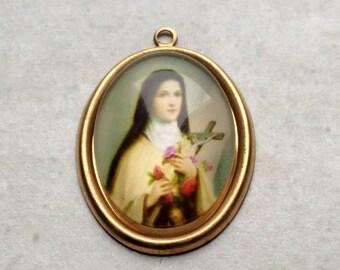 Vintage Saint Thérèse of Lisieux charm 33x22