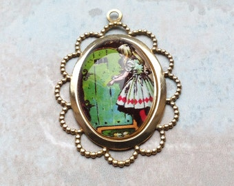 Brass Alice in Wonderland illustrated glass domed charm 40x30mm