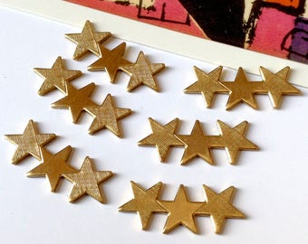 6 Vintage Brass Triple Star flatback stampings 22x9mm 1970s USA made, no hanging loops / drilled holes