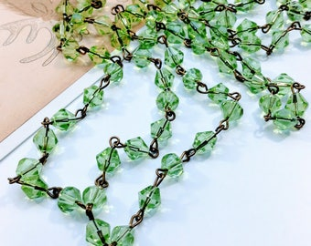 Light Green bead chain 1m x 6mm bicone beads, bronze chain, bridal / wedding / rosary / religious / Jewelry making findings