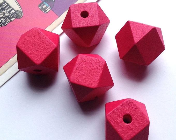 5 Cerise Pink Wooden Geometric / Polygon Beads 20mm