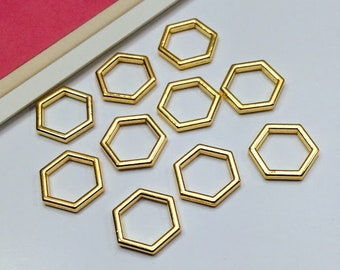 10 Gold Plated Hexagon Charms 22x20mm