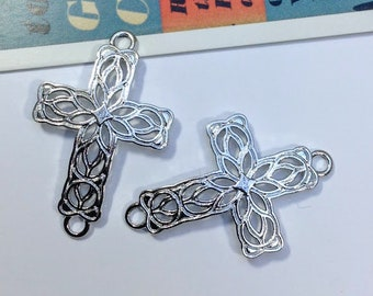 2 Filigree cross connector charms 42x27mm