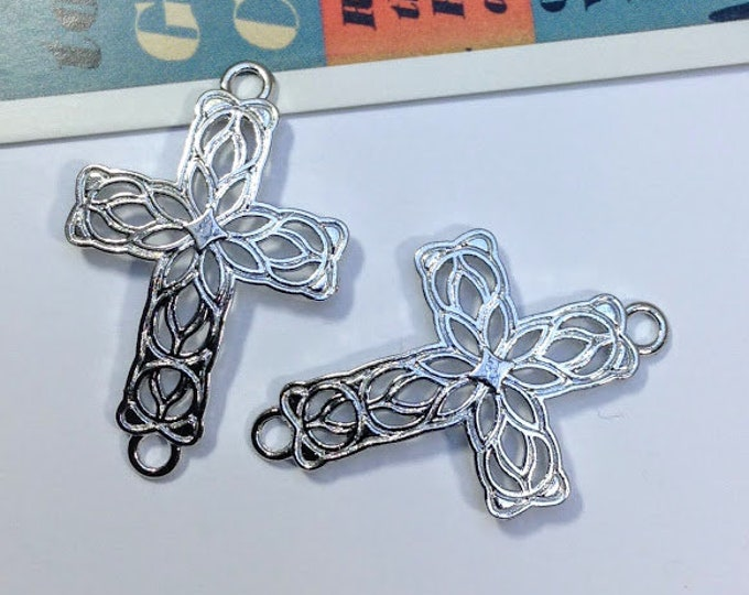 2 Filigree cross connector charms 42x27mm silver tone celtic crosses / floral design