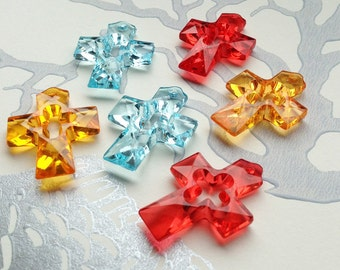 6 translucent plastic faceted cross charms  35x25mm