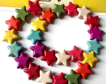 10 howlite star beads 15x14mm rainbow colour mix