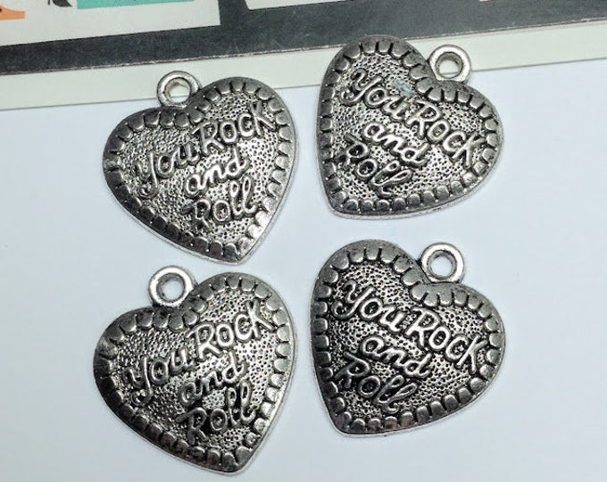 4 'You Rock and Roll' large Heart charms  31x28mm silver tone pendants for necklace making