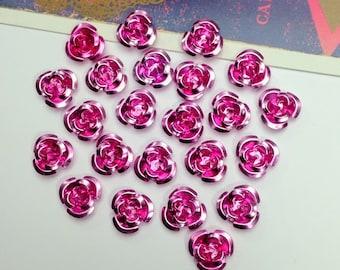 30 Rose Pink metal rose beads 12mm
