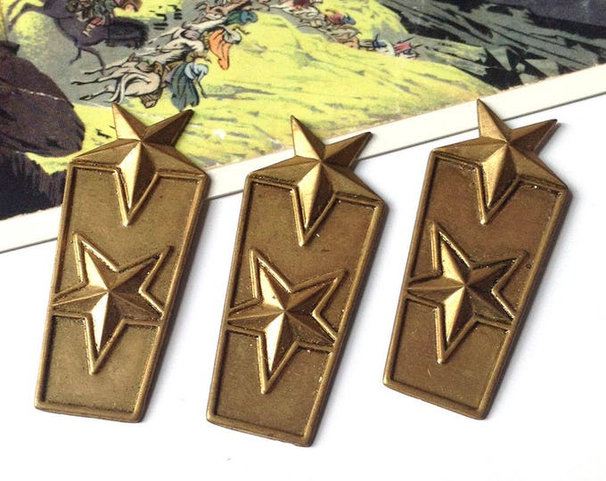 3 Vintage Brass Military Star Stampings 49x20mm