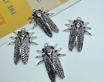 4 Antiqued Silver Cicada Charms 28x23mm