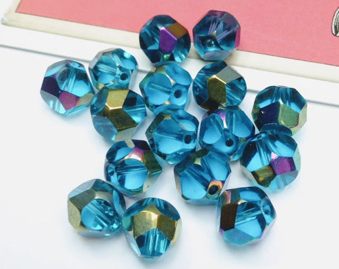 10 capri blue faceted glass beads 8mm
