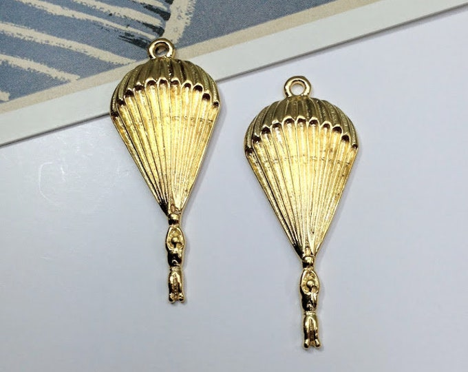 2 gold tone Parachute Charms 41x17mm