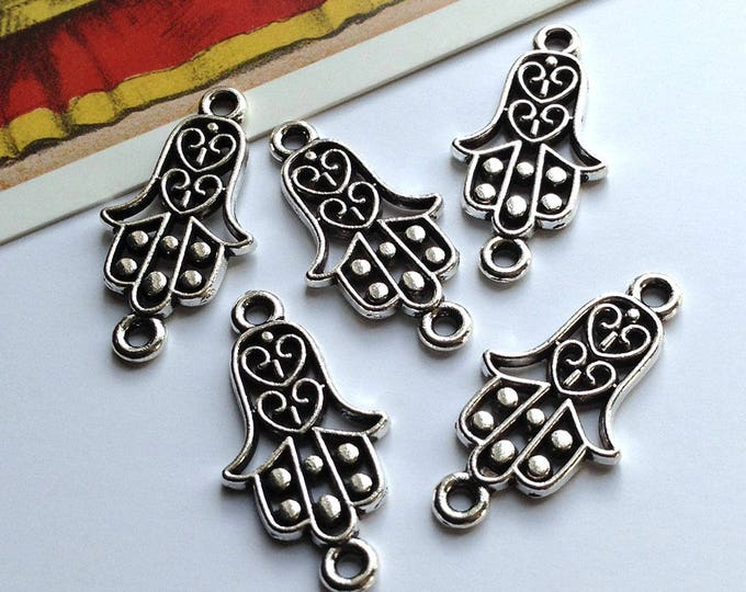 5 Filigree Hamsa connector charms 25x13mm