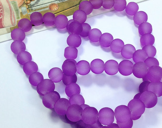 10 Violet Frosted glass beads 8mm purple beads for jewelry making