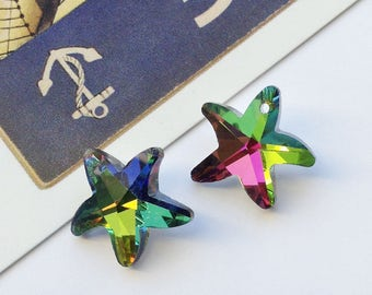 2 Glass Starfish Charms 15mm AB finish
