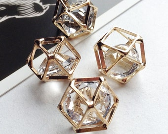 2 geometric gold tone charms w/clear faceted stone 13x17mm