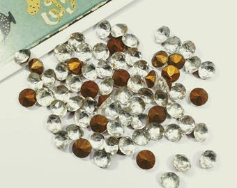 12 vintage 7mm clear pointed-back stones 5mm deep