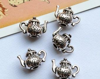 4 silver tone 3D teapot charms 12x16mm