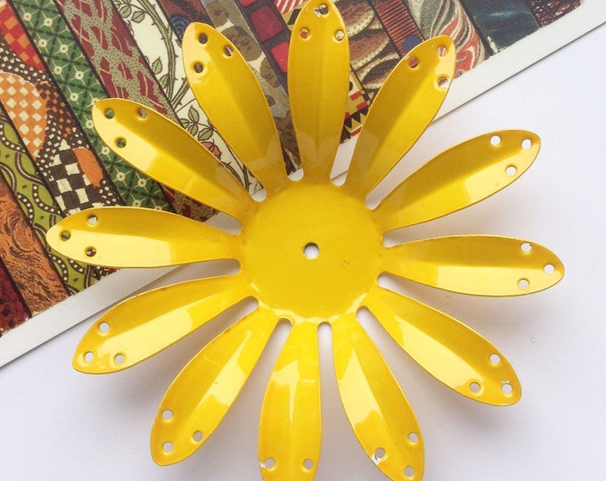 Large Vintage Yellow Metal Flower Finding 73mm