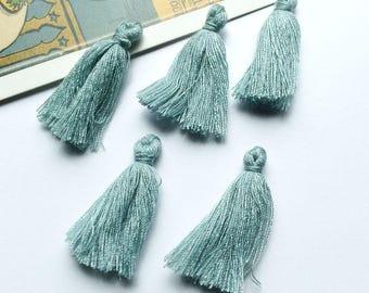 10 mini Grey / Blue cotton tassels 25mm