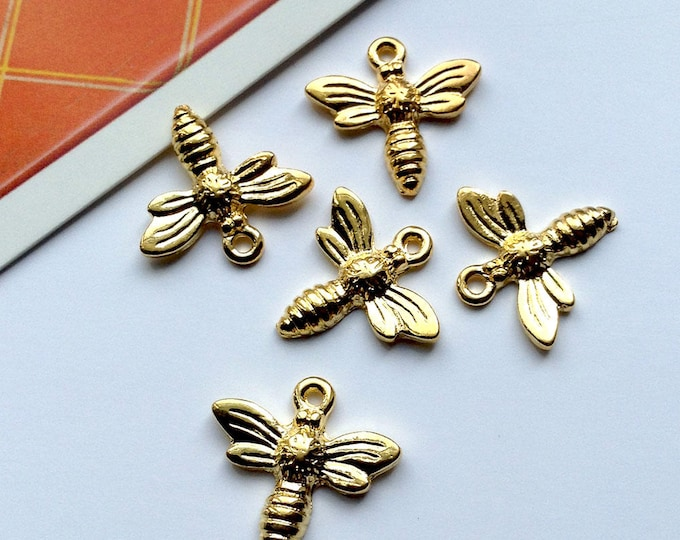 Bulk Lot 25 Gold Bee Charms 15mm small bees, mini gold plated insect trinkets for jewelry making