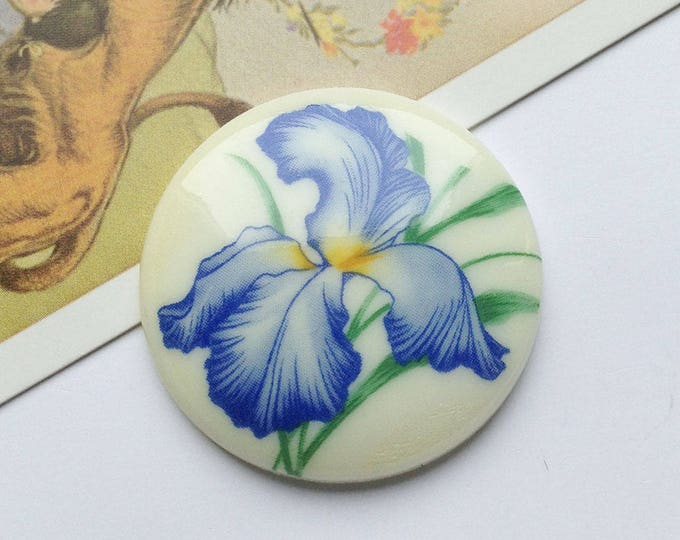 Vintage Round Iris Cabochon 34mm Made in West Germany, floral flatback, acrylic
