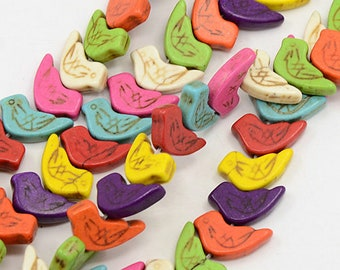 BULK LOT 50 Bird beads 18x13mm colourful birds, summer beads, cute bright bird trinkets