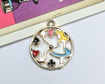 Alice in Wonderland Clock Charm 23x20mm enamel Alice pendant
