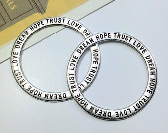 2 Silver tone Inspirational Hoop pendants 36mm dream, trust, love, hoops / large charms