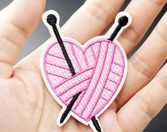Pink Heart of Yarn knitting iron on patch 72 x 50mm