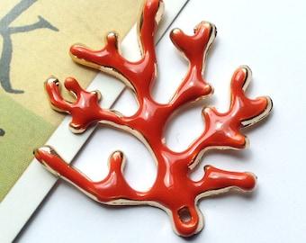 Gold Plated Enamel Orange Coral Charm 37x36mm