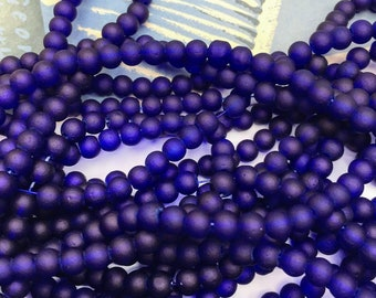 15 or Bulk Lots Cobalt Blue Frosted glass beads 4mm