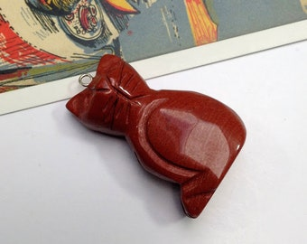 Red Jasper Cat Pendant 40x26mm large cat for necklace