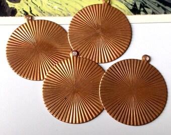 4 vintage copper sunburst disc charms 37x33mm large round coppertone findings