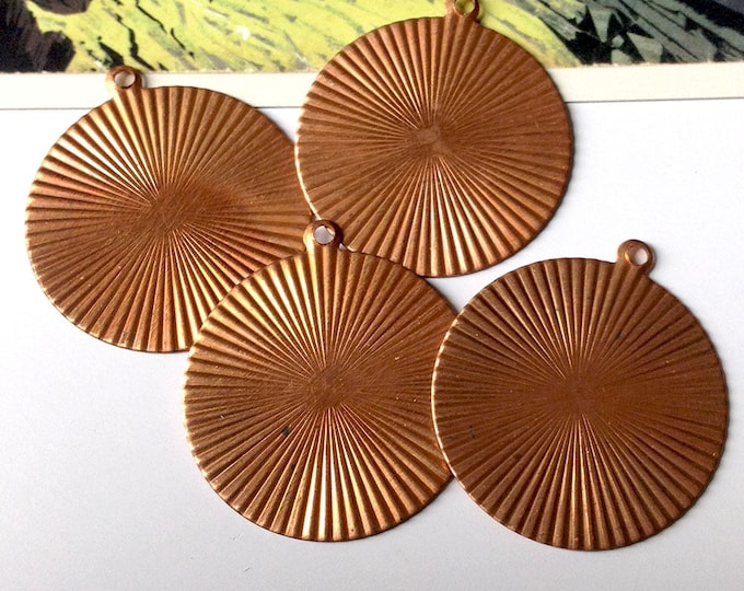 4 vintage copper sunburst disc charms 37x33mm large round coppertone findings