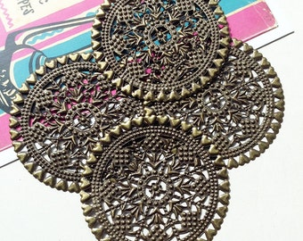 4 x 60mm Large Antiqued Brass round filigree stampings/findings in Bronze