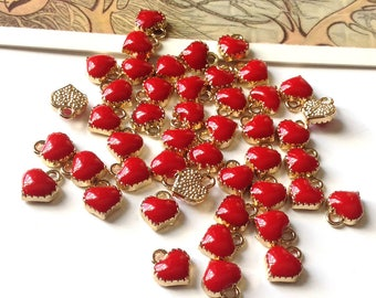 Bulk Lot 50 mini Red Enamel Heart Charms 8x7mm