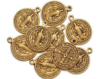Bulk Lot 20 Antiqued Gold St Benedict charms 14x17mm
