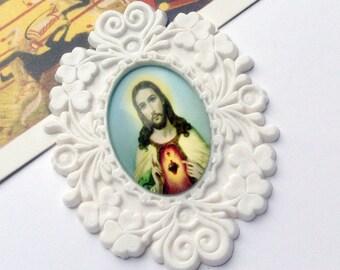 Vintage Ornate Jesus Brooch Part 52x40mm Sacred Heart Religious finding